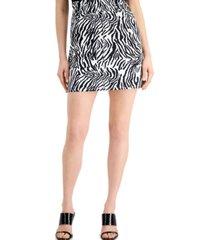 bar iii zebra-print paperbag mini skirt, created for macy's