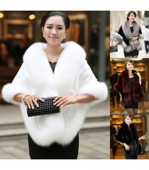 new noble mink bridal wedding faux fur long shawl stole wrap shrug scarf