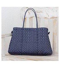 recycled plastic shoulder bag, 'navy pattern' (guatemala)