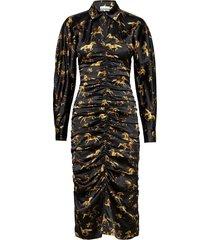 silk stretch satin jurk knielengte zwart ganni
