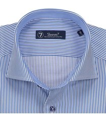 sleeve7 overhemd donkerblauwe streep