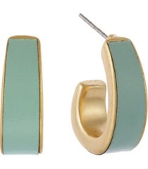 the sak gold-tone leather inlay clip hoop earrings