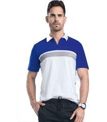 camiseta polo adulto masculino bicolor blanco azul rey marketing personal