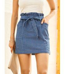 yoins minifalda con bolsillo lateral con diseño de cinturón a rayas azules