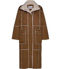 aria coat wollen jas lange jas bruin stand studio