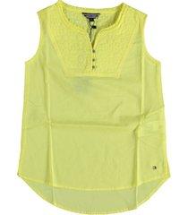 tommy hilfiger gele blouse top katoen