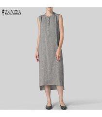 zanzea vestido sin mangas de camisa larga para mujer vestido asimétrico sin mangas vestido a media pierna tallas grandes -gris