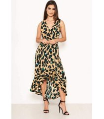 ax paris women's leopard print wrap frill maxi dress