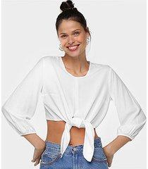 blusa cropped mercatto amarração feminina - feminino