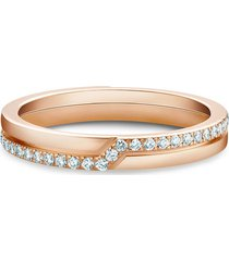 de beers 18kt rose gold the promise diamond ring - pink