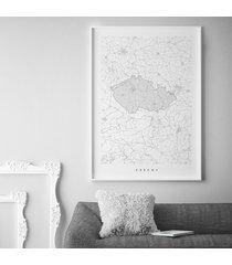 czechy - mapa czech - plakat