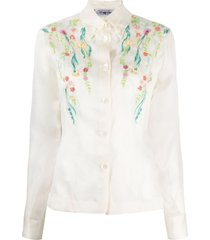 a.n.g.e.l.o. vintage cult 1990s floral-beaded silk shirt - neutrals