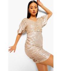 two tone mini jurk met pofmouwen en pailletten, gold