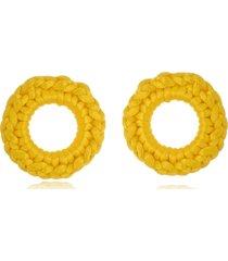 argola le diamond de crochê amarela