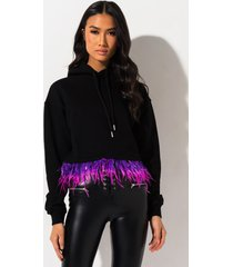 akira life in technicolor feather hoodie