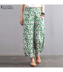 zanzea floral de las mujeres de la pierna ancha de gran tamaño plus plain pantalones flojos pantalones cosechados -verde