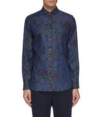 floral print slim fit denim shirt
