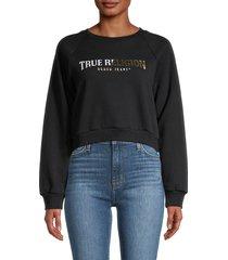 true religion women's raglan-sleeve cropped sweatshirt - onyx - size l