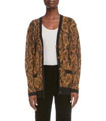 women's saint laurent snake print cardigan, size small - black
