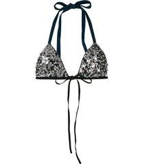 no ka' oi embroidered bikini top - silver