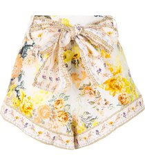camilla tie-waist high cut shorts - white