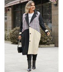 abrigo de manga larga con diseño de botones de diseño de bolsillo de patchwork con cuello de muesca de talla grande