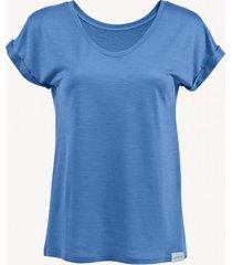 t-shirt z wełny merino niebieski