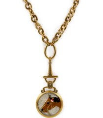 "patricia nash gold-tone horse embellished button drop pendant necklace, 28"" + 2"" extender"