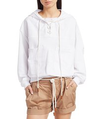 frame women's lace-up hooded sweatshirt - blanc - size xs