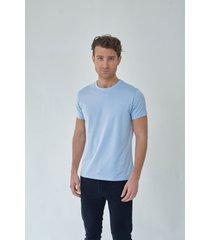 t shirt cuello redondo azul claro