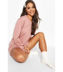 basic pyjama set met shorts en lange mouwen, blush