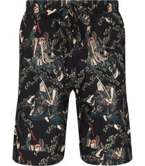 desmond & dempsey samurai print pajama shorts - black