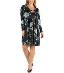 24seven comfort apparel floral knee length pleated long sleeve plus size dress
