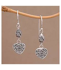 sterling silver dangle earrings, 'seeds of hatiku' (indonesia)