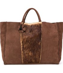 danielapi textured panel tote bag - brown