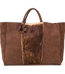 danielapi textured panel tote bag - brown