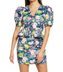 women's endless rose floral puff sleeve top, size large - blue