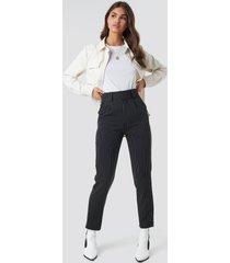 na-kd classic pinstriped cigarette pants - black