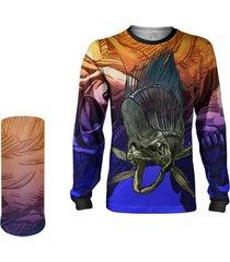 camisa máscara pesca quisty dourado do mar skull fishing proteção uv dryfit infantil/adulto - camiseta de pesca quisty