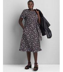 lane bryant women's lena fit & flare midi dress 26 black and white