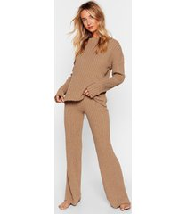 womens recycled shake knit off sweater and pants lounge set - brown