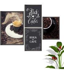kit conjunto 4 quadro oppen house s frases o dia comeã§a com cafã© lojas cafeteria xãcaras grã£os moldura preta decorativo interiores    sem vidro -