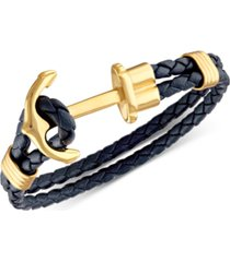 esquire men's jewelry navy braided leather cord anchor clasp bracelet in yellow ion-plated stainless steel, created for macy's
