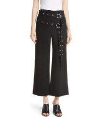 women's cinq a sept jessi double belt pants, size 0 - black