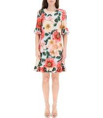 korte cady-jurk met camellia-print