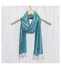 silk scarf, 'peacock blue' (thailand)
