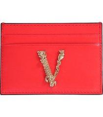 versace designer wallets, card holder with virtus logo