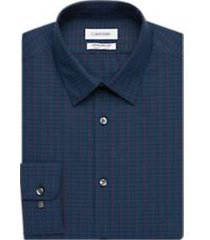 calvin klein infinite non-iron blue and red check regular fit dress shirt