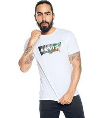 camiseta blanca-multicolor levis