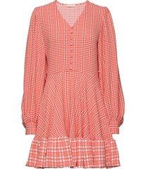 farrow, 775 structure stretch korte jurk roze stine goya